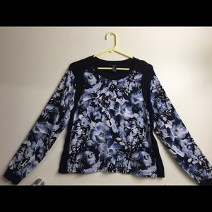 Navy blue floral front solid black back